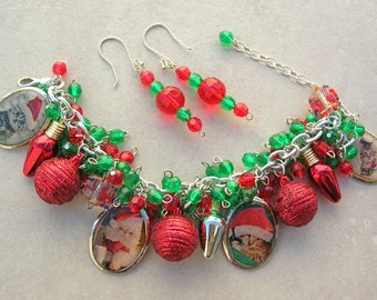 Christmas in July! Santa Cat Charm Bracelet & Earrings, Christmas Bulbs/Lights, Glass Beads, Bracelet Can Be a Necklace,Set by SandraDesigns