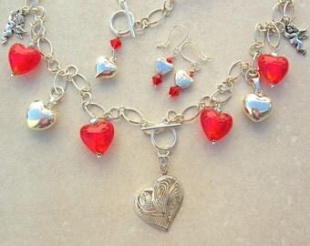 3-Pc. Heart Set, Necklace + Bracelet = Longer Piece, Heart Earrings, Crystal, Glass/Sterling Silver Charms, Versatile Set by SandraDesigns
