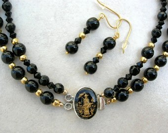 SALE- 50% off, Strolling Chinese Philosopher Porcelain & Sterling Clasp, Gold and Black Glass Beads, Choker Necklace Set by SandraDesigns