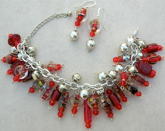Christmas in July! Holiday Jingle Bell Bracelet & Earrings,A Riot of Red Glass/Crystal Beads,Bracelet Can Be a Necklace,Set by SandraDesigns