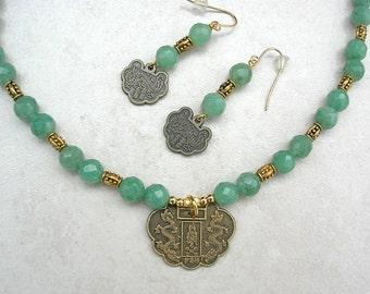Reversible Chinese Dragons & Buddha/Kuan Yin Zodiac Pendant, New Jade Beads (Aventurine), Necklace Set by SandraDesigns