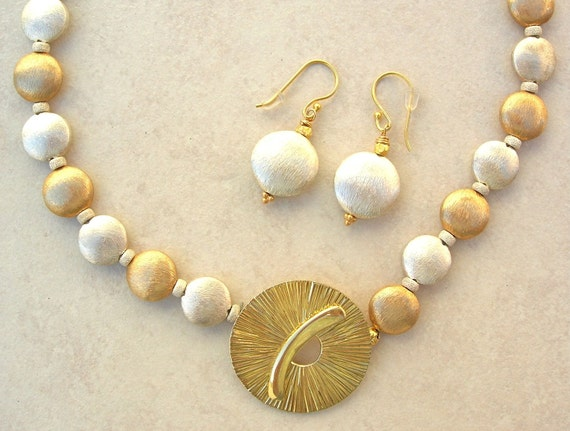 """Sunrise Over Tokyo, Florentined Sterling Silver & Gold Vermeil Beads, Vemeil """"Sun"""" Clasp by Saki, Investment Necklace Set by SandraDesigns"""