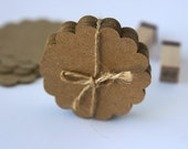 Kraft Paper Scalloped Round Tags