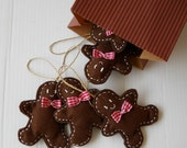 Gingerbread Boys Christmas  Handstitched Felt  Ornaments- 1 dozen