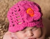 Summer Hat for Baby Girl (Bright Pink w/orange trim on flower) (Fits 0-2T)
