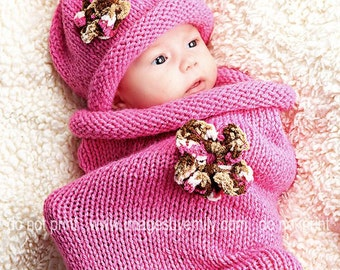 READY TO SHIP - Knitted Baby Cocoon with matching hat (bright pink/brown).  Fits 0 to 4 months