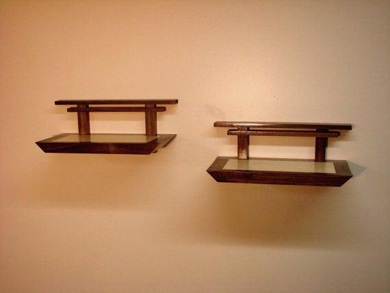Asian Influence Shelf - Small Open Back - Pair