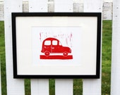 hand pulled print Car in Red