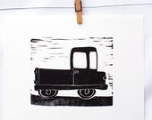 truck print, children's art, black and white, hand pulled print,Truck from the Things That Go Collection