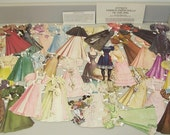Vintage PAPER DOLLS LOT Antique 1890s Fashions Gowns Wedding Golf Accessories