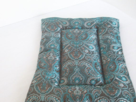 Brown and Turquoise Satin Crate Mat for Chinese Cresteds and Other Long-Haired Dogs