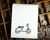 Letterpress  vintage black scooter card by The Permanent Collection