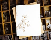 Single card of brown gingko by The Permanent Collection