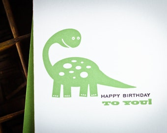 Dino birthday letterpress cards by The Permanent Collection