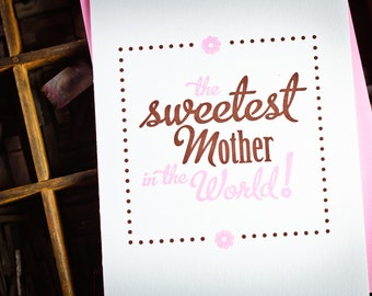 Letterpress Sweetest Mother card by The Permanent Collection