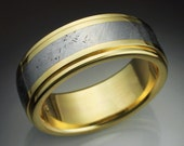18k gold mans ring with Gibeon meteorite