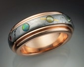14k rose gold Nine Planets ring with Meteorite and gems