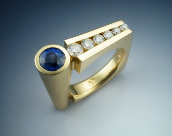 18k Gold Contemporary Sapphire and Diamond Woman's Ring