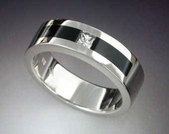 White gold man's ring with Diamond and Black Jade