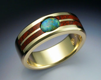 18k gold mans ring with Opal and Dinosaur bone