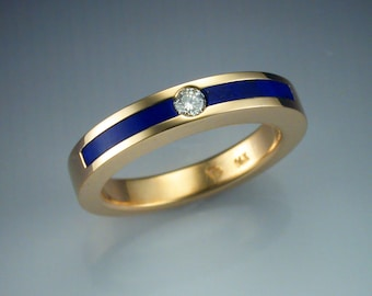 14k gold ring with inlaid Lapis and Diamond