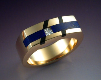 Man's ring with Diamond, Black Jade and Lapis