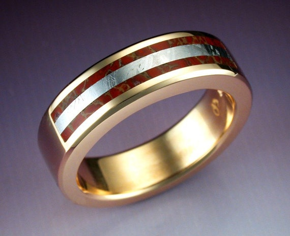 14k gold man 39 s ring with dino bone and by metamorphosisjewelry