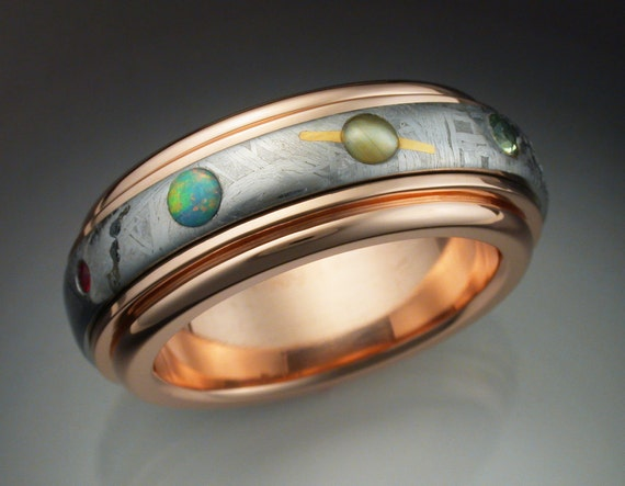Items similar to 14k rose gold Nine Planets ring with ...