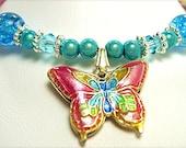 Unique One Of A Kind Cloisonne Butterfly Bracelet