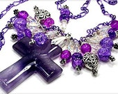 Amethyst Gemstone Cross of Jesus Necklace Queen Elizabeth Style