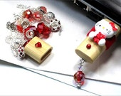 Red Cat USB FLASH DRIVE Necklace Red Crystals Handmade Lampwork Beads Magnetic Wood Case World Wide Trend