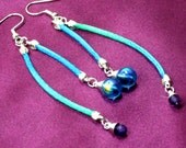 Real Gemstone Dangle Earrings Purple Amethyst and Blue Rainbow Crystals Earrings Authentic Gemstone Beads  Turquoise Satin Ribbon