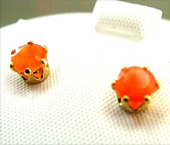 Unique Orange Mexican Fire Opal Earrings with Gold