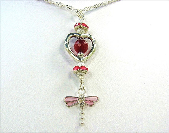Red Pink REAL RUBY Gemstone Jewelry Set Necklace Earring Dragonfly Silver Charm Swarovski Crystals