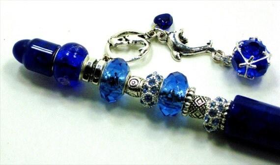 Pandora Pen Cobalt Blue Bead Pen With Dolphins