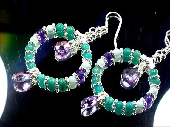 Green Purple Gemstone Hoop Earrings BasketBall Wives Inspired Green Amazonite Purple Amethyst  Gemstone Hoop Earrings