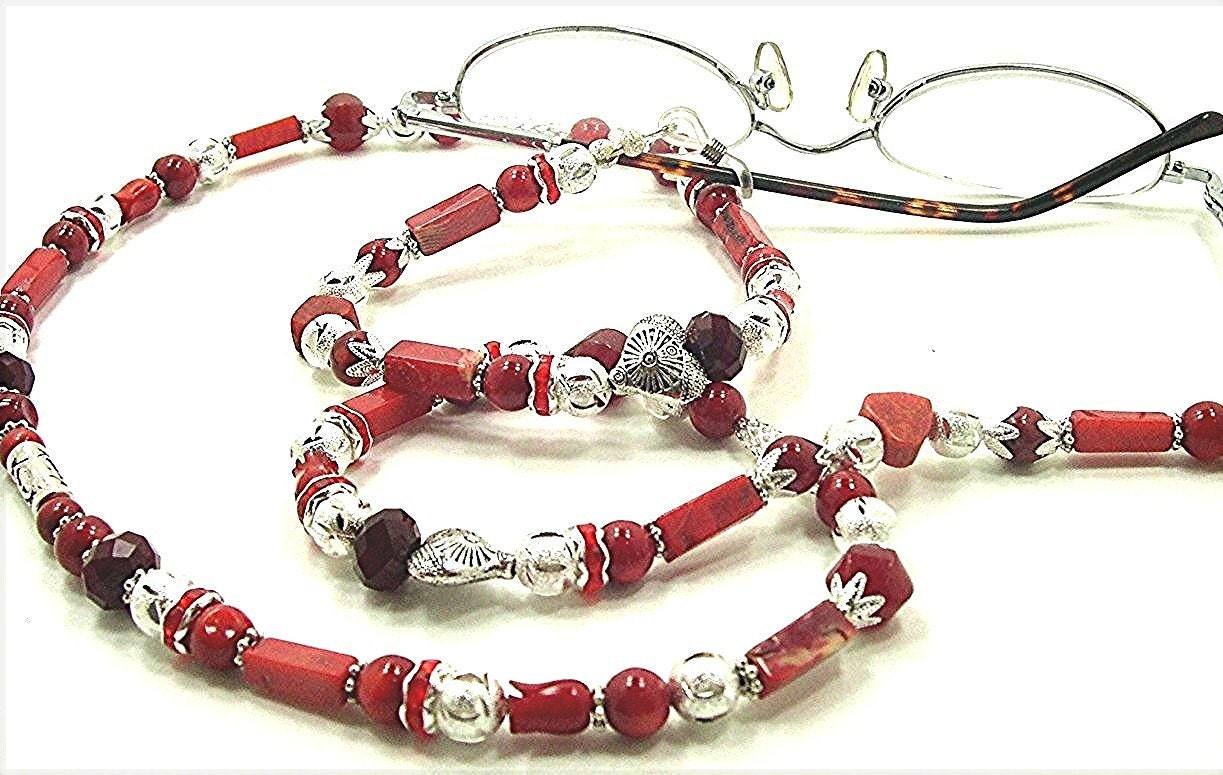 reading glasses necklace coral with reconstituted