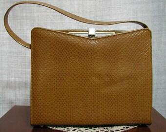 Vintage Classic Snakeskin-like Light Brown Handbag Purse