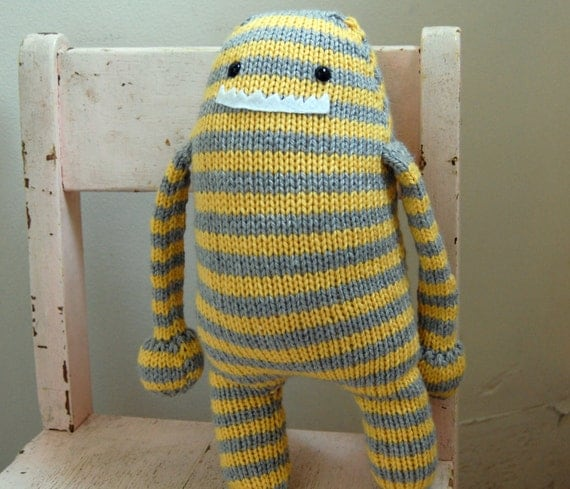 Monster Stuffed Animal - Yellow and Gray Stripes