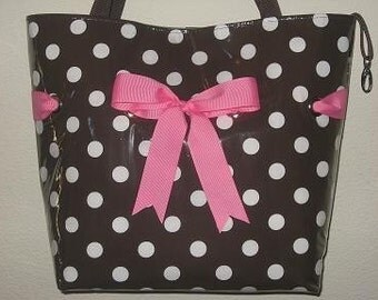 Brown Dot with hot pink
