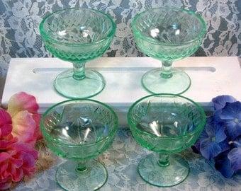 Vintage Antique US Glass Floral Diamond Band Green Depression Sherbet Set of Four, 1920s Antique Glass, Jello, Pudding or Sherbet Set
