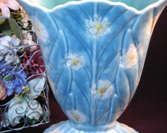 Vintage Beswick Pottery Floral Fan Shaped Vase, 1930s Blue Floral Vase, Made in England, Collectible Pottery, Art Pottery, Home Decor