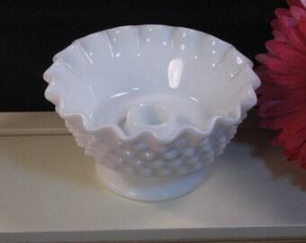 Vintage Fenton White Milk Glass Hobnail Candle Holder Bowl 3673, Elegant Art Glass, 1960s Home Decor Mid Century, Glass Dinnerware