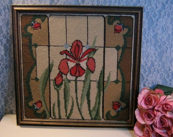 Vintage Handmade Needlepoint Red Rose Iris or Orchid Framed Picture, 1950s Home Decor, Red Floral Pattern, Needlepoint Framed Picture