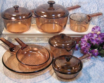 Vintage Corning Visions Visionware Glass Cookware, Saucepans, Skillet, Brown Amber 11 Piece Set, Mid Century, Corning Ware Pyrex Cookware