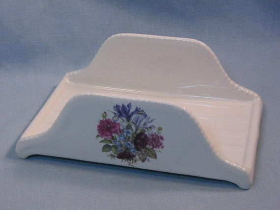 Vintage Floral Athena Pottery California Finger Towel Letter Holder Tray, 1960s Mid Century California Pottery, Vanity or Bathroom Accessory