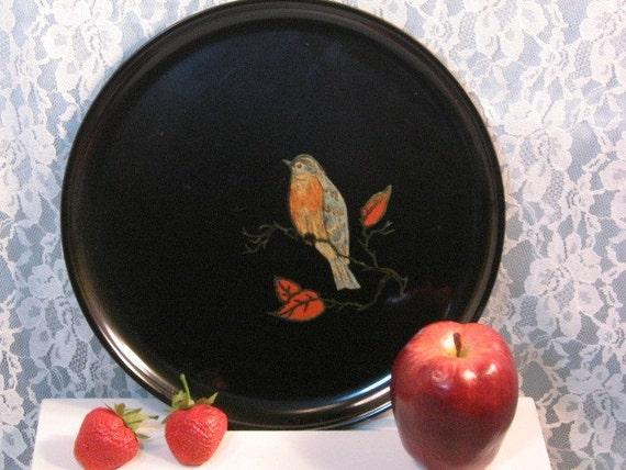 Vintage Couroc of California Blue Bird Round Tray or Plate, Barware or Serving Platter, Vintage Barware Kitchen Tray, Mid Century Modern
