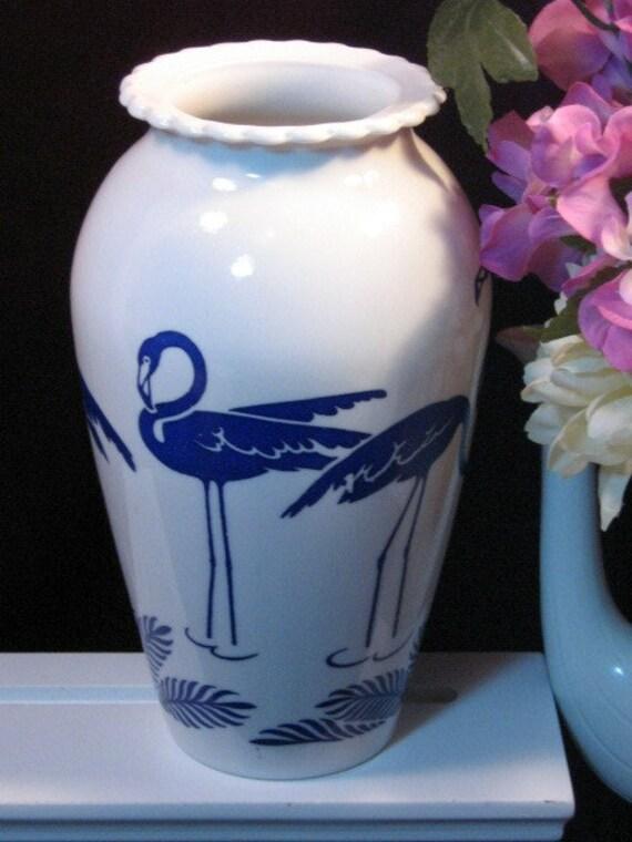 Hocking Milk Glass Vitrock Blue Flamingo Vase Rare