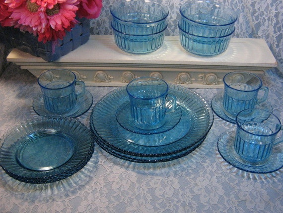 Vintage Fortecrisa Blue Glass Dinnerware Plate Cup Saucer Bowl Set