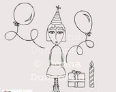 Digital Stamp, Hettie the Party Girl, Birthday printable
